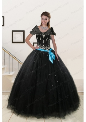 Elegant Appliques and Beading Quinceanera Dresses in Black