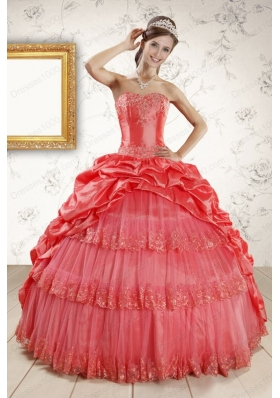 Elegant Appliques Quinceanera Dresses in Watermelon