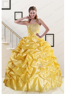 Elegant Beading Strapless 2015 Quinceanera Dresses with Sweep Train