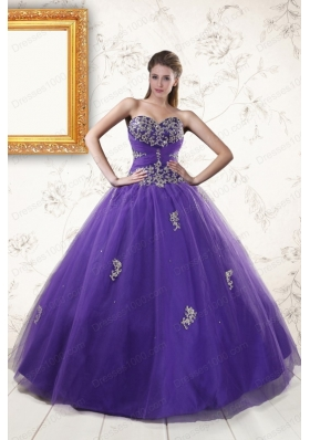 New Arrival Purple Quinceanera Dresses with Appliques and Beading for 2015