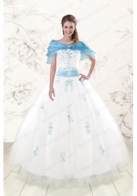 White Ball Gown Discount Pretty Quinceanera Dresses for 2015