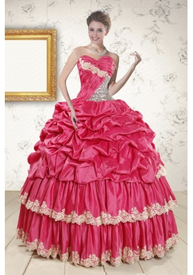 2015 Cheap Appliques Sweet 15 Dresses in Coral Red