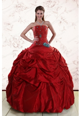 2015 Cheap Beaded Strapless Quinceanera Dresses with Pick Ups