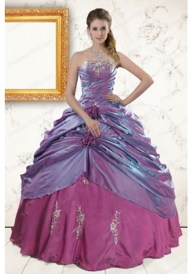 2015 Cheap Purple Appliques Quinceanera Dresses with Strapless