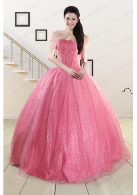 2015 Elegant Strapless Quinceanera Dresses in Rose Pink