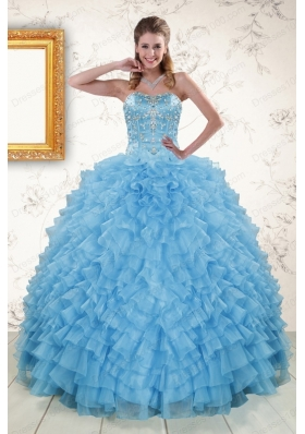 2015 Elegant Sweetheart Baby Blue Sweet 15 Dresses with Beading