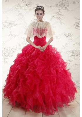 2015 Elegant Sweetheart Beading Quinceanera Dresses in Red