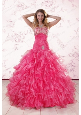 2015 Elegant Sweetheart Hot Pink Quinceanera Dresses with  Ruffles