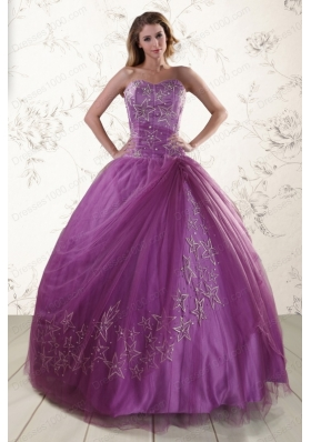 2015 Elegant Sweetheart Purple Quinceanera Dresses with Embroidery