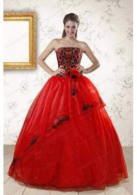 Cheap Red Appliques Strapless Quinceanera Dresses for 2015
