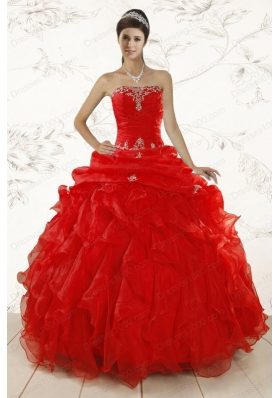 Cheap Red Ball Gown Strapless Sweet 15 Dresses with Beading and Ruffles