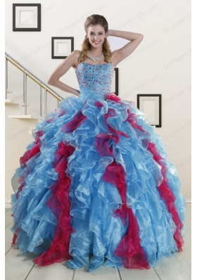 Fashionable Beading Quinceanera Dresses in Multi Color For 2015