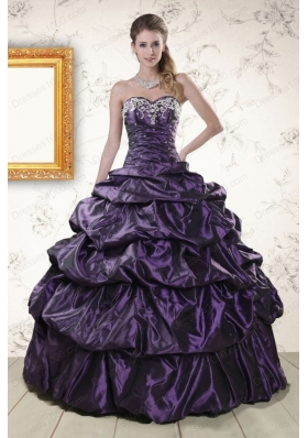 Fashionable Sweetheart Purple Sweet 15 Dresses with Appliques for 2015
