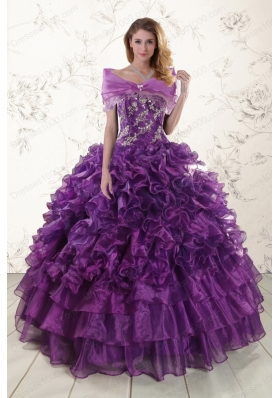 In Stock Appliques Purple Strapless 2015 Quinceanera Dresses