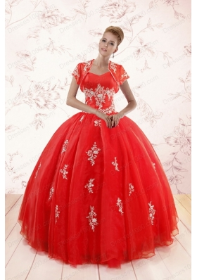 In Stock Ball Gown Sweetheart Appliques Quinceanera Dresses