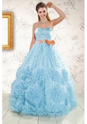In Stock Beading Aqua Blue 2015 Quinceanera Dresses