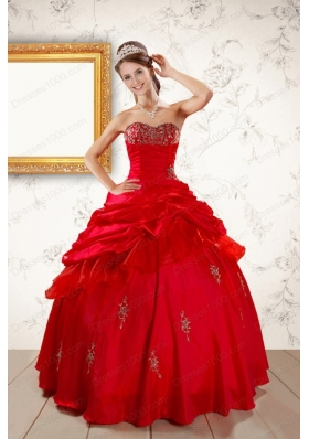 In Stock Beautiful Beading Sweetheart Red Quinceanera Dresses