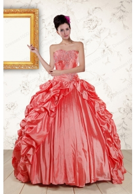 In Stock Beautiful Sweetheart Beading Quinceanera Dresses in Watermelon