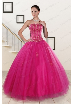 In Stock Fuchsia Quinceanera Dresses with Beading and Appliques for 2015