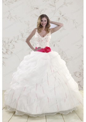In Stock Halter Belt Beading White 2015 Quinceanera Dresses