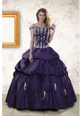 In Stock Latest Off The Shoulder Appliques Quinceanera Dresses in Purple