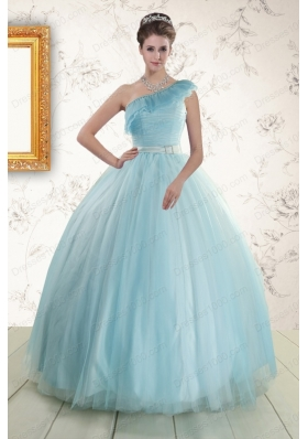In Stock One Shoulder Light Blue Quinceanera Dress for 2015