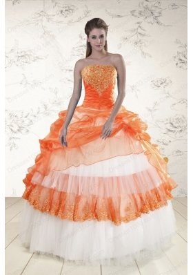 In Stock Perfect Strapless Appliques and Beaded Quinceanera Dresses in Orange