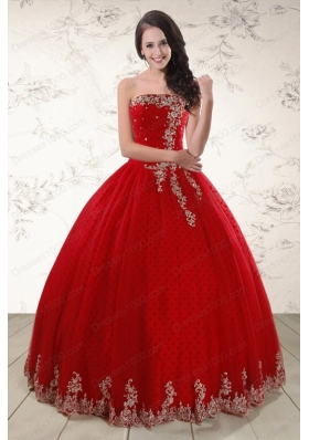 In Stock Red Strapless 2015 Quinceanera Dresses with Appliques