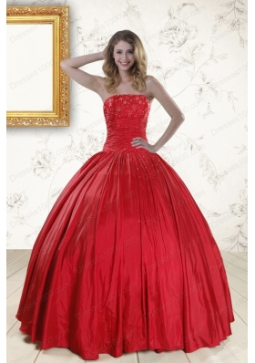 In Stock Red Strapless Sweet 16 Dresses with Beading