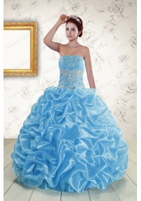 In Stock Strapless Beading and Pick Ups 2015 Quinceanera Dresses in Baby Blue