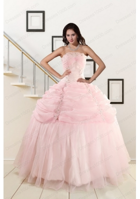 In Stock Strapless Quinceanera Dresses with Beading and Pick Ups
