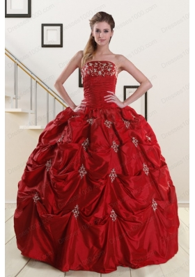 In Stock Strapless Wine Red Appliques Quinceanera Dresses for 2015