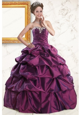In Stock Sweetheart Purple Quinceanera Dresses with Appliques and Pick Up