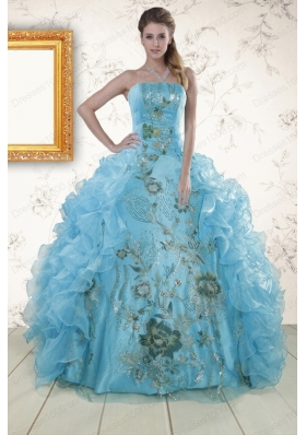 New Style Embroidery 2015 Quinceanera Dresses in Baby Blue