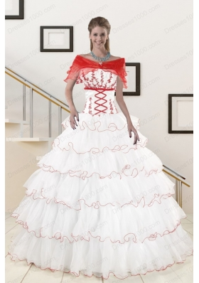 Pretty Ruffeld Layers 2015 Quinceanera Dresses with Strapless
