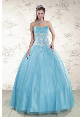 2015 Cheap Aqua Blue Quinceanera Dresses with Beading and Appliques