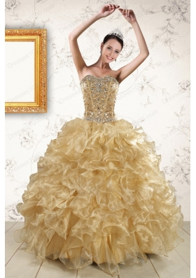 2015 Cheap Ruffles and Beaded Quinceanera Dresses in  Champange