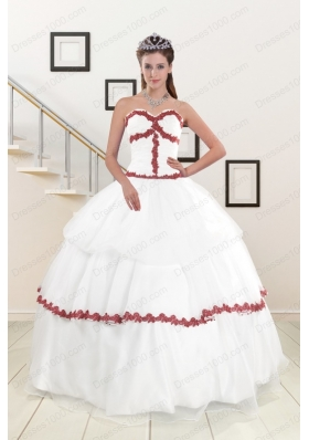2015  Cheap Sweetheart Ball Gown Quinceanera Dresses with Appliques