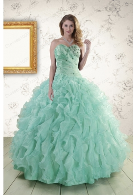 2015 Cheap Sweetheart Beading Quinceanera Dresses in Apple Green