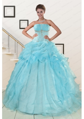 2015 Fashionable Aqua Blue Quinceanera Dresses with Beading