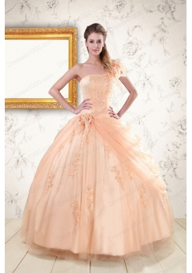 2015 Fashionable One Shoulder Appliques Quinceanera Dress in Peach
