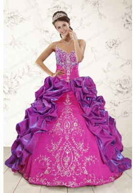 Cheap Ball Gown Embroidery Court Train Quinceanera Dresses in Purple