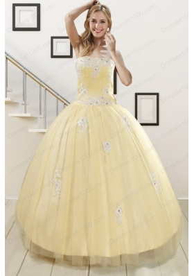 Cheap Light Yellow Sweet 16 Dresses with White Appliques