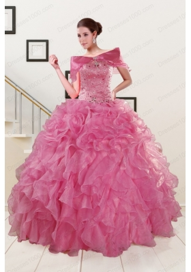 Cheap Puffy Sweetheart Pink Quinceanera Dresses with Beading