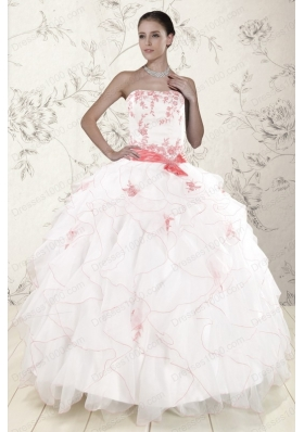 Cheap White Quinceanera Dresses with Pink Appliques and Ruffles