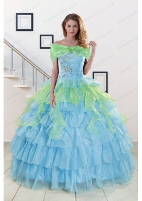Fashionable Beading Strapless Multi-color Quinceanera Dress for 2015