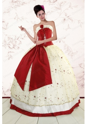 Fashionable Multi Color 2015 Quinceanera Gowns with Appliques and Bowknots