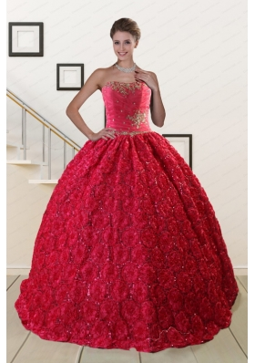 Fashionable Rolling Flower Beading 2015 Quinceanera Dresses in Coral Red