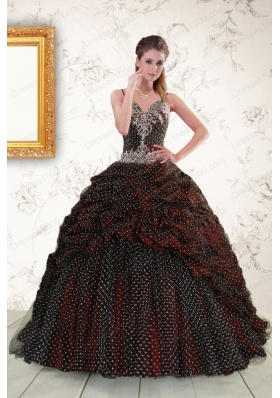 Fashionable Spaghetti Straps Burgundy Sweet 15 Dresses with Appliques and Pick Ups