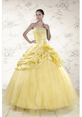 Fashionable Yellow Sweetheart Ball Gown Quinceanera Dresses for 2015